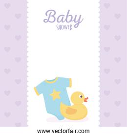 baby shower, bodysuit and rubber duck banner purple background