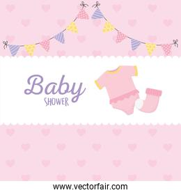 baby shower, pink bodysuit and sock pennants label