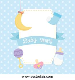 baby shower, moon sock rattle bottle and pacifier blue decoration