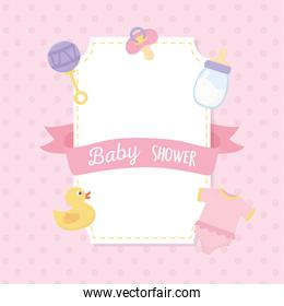baby shower, duck bodysuit rattle bottle and pacifier pink decoration