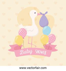 baby shower, stork with purple diaper and balloons decoration