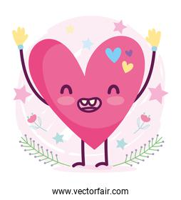 cute cartoon smiling heart love romantic character