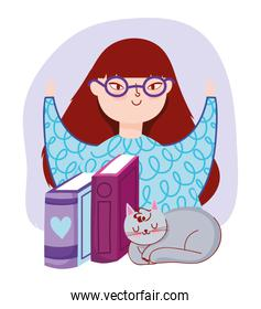 young woman with glasses books and gray cat, book day