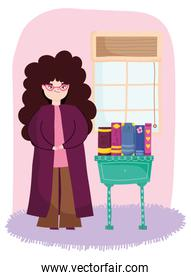 young woman with long curly hair in the room with furniture and books, book day