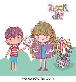 boy with open book and girl reading fantasy book flowers nature outdoors