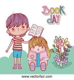 boy with open book and girl sitting reading fantasy book flowers