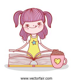 girl with book and chocolate cup cartoon