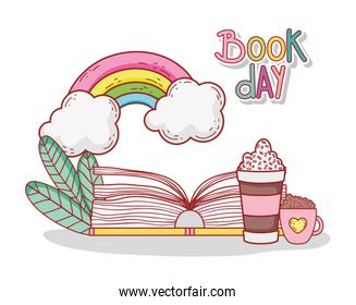 open book with smoothie chocolate cup rainbow