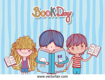 little boy with book pirates and kids open books stripes background