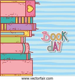 stacked books education literature striped background