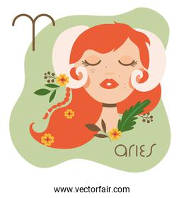 beautiful woman with aries zodiac sign