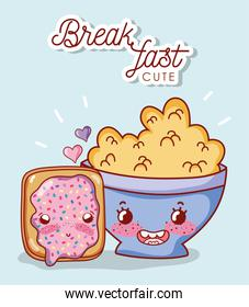 breakfast cute cereal in bowl and bread with cartoon