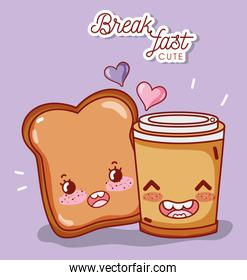 breakfast cute slice bread and disposable coffee cup cartoon