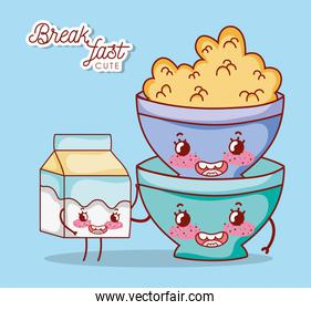 breakfast cute bowl with cereal and milk box cartoon over blue