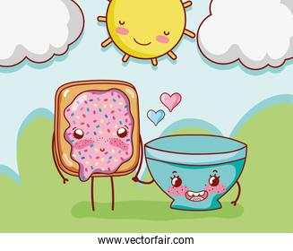 breakfast cute bread with and bowl in the cartoon