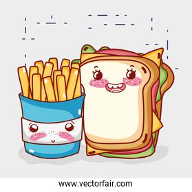 fast food cute french fries and sandwich cartoon character
