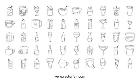 drinks beverage glass cups bottle alcoholic liquor icons set line style icon