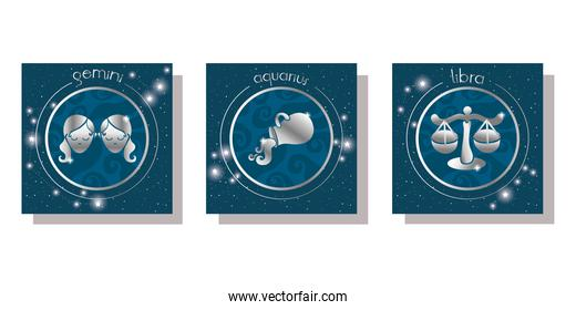 set of zodiac signs set icons