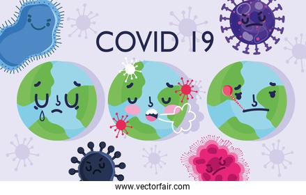 virus covid 19 pandemic, world with thermometer and coughing