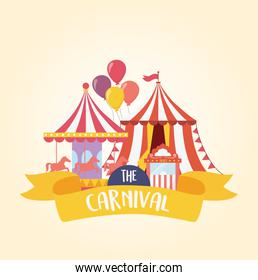 fun fair carnival carousel tent and ticket booth recreation entertainment