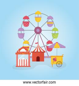 fun fair carnival ferris wheel tent ticket booth and ice cream recreation entertainment