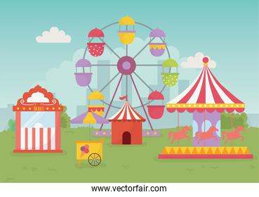 fun fair carnival tent carousel balloons ferris wheel recreation entertainment