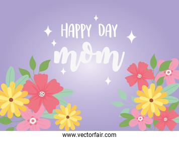 happy mothers day, greeting card mom flowers floral