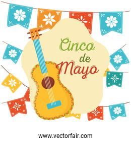 cinco de mayo guitar flowers in pennants decoration mexican celebration