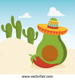cinco de mayo avocado with hat and pepper in desert mexican