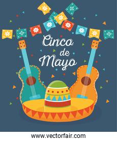 cinco de mayo guitars and hat pennants mexican celebration