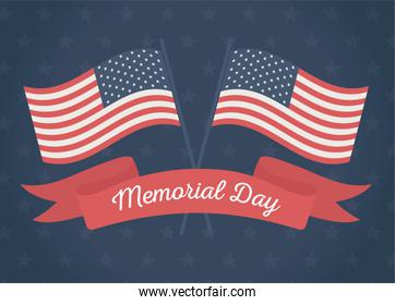happy memorial day, crossed flags ribbon stars blue background american celebration