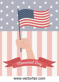 happy memorial day, hand waving flag symbol american celebration