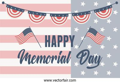 happy memorial day, lettering on flag pennants american celebration