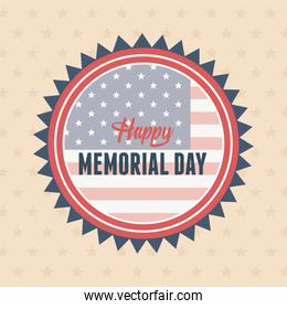 happy memorial day, badge on flag patriotic background american celebration