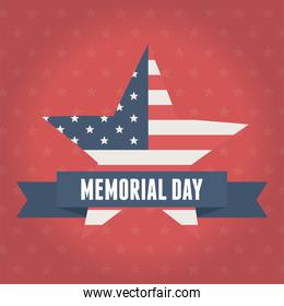 happy memorial day, flag shaped star emblem red background american celebration