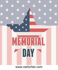 happy memorial day, flag shaped star insignia background american celebration