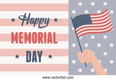 happy memorial day, hand with flag remember and honor american celebration