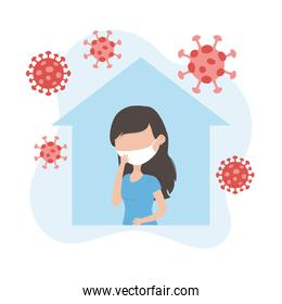 virus covid 19 quarantine, virus covid 19 quarantine, woman protective mask against infectious diseases