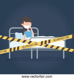 virus covid 19 quarantine, woman with protective mask in bed hospital tape restricted