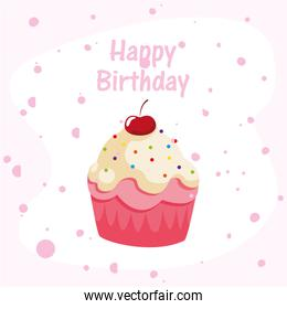 Happy birthday cupcake vector design