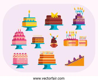 Happy birthday cakes vector design
