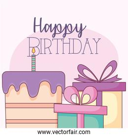 Happy birthday cake and gifts vector design