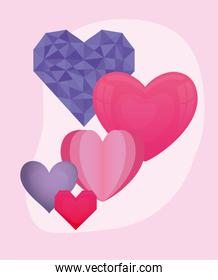 Love pink and purple hearts vector design