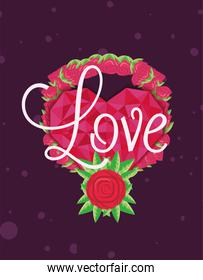 Love pink hearts with roses vector design