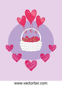 Happy valentines day hearts balloons with basket vector design