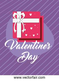 Happy valentines day pink gift and hearts vector design