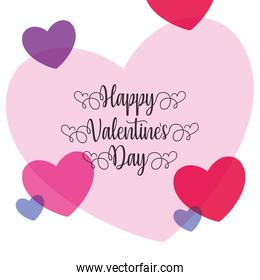 Happy valentines day purple and pink hearts vector design