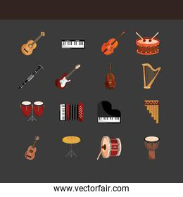 musical instruments string wind percussion icons set dark background