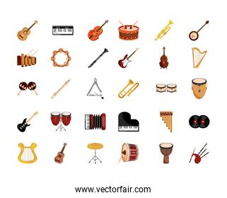 musical instruments string wind percussion icon set isolated icon