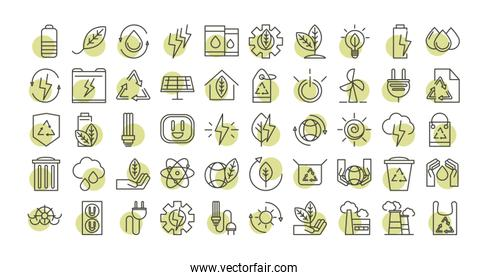sustainable energy alternative renewable ecology icons set line style icon